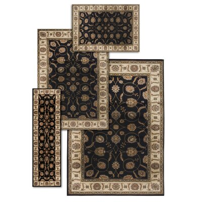 Basham 4 Piece Black/Beige Rug Set