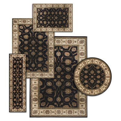 Basham 5 Piece Black/Beige Rug Set