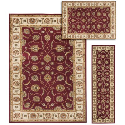 Basham 3 Piece Red/Beige Rug Set