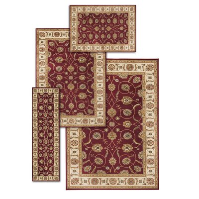 Basham 4 Piece Red/Beige Rug Set