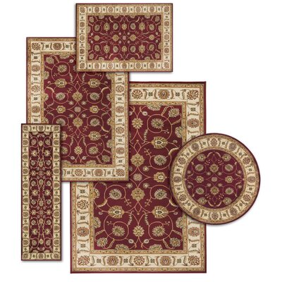 Basham 5 Piece Red/Beige Rug Set