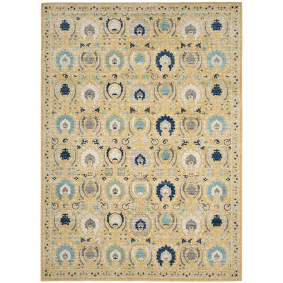 Aegean Gold / Ivory Area Rug Rug Size: 51 x 76