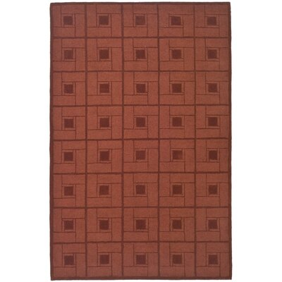 Square Knot Hand-Loomed Vermillon Area Rug Rug Size: 5 x 8