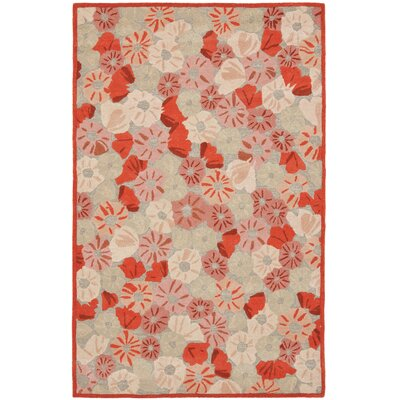 Poppy Field Hand-Tufted Cayenne Red Area Rug Rug Size: 5 x 8