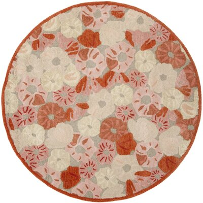 Poppy Field Hand-Tufted Cayenne Red Area Rug Rug Size: Round 6 x 6