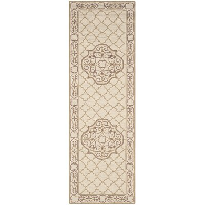 Apache Hand-Hooked Ivory & Gold Area Rug Rug Size: Runner 26 x 8