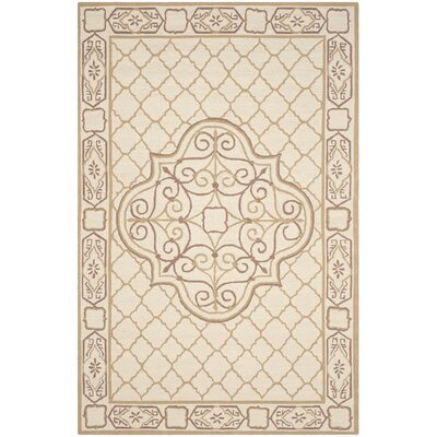 Apache Hand-Hooked Ivory & Gold Area Rug Rug Size: Rectangle 6 x 9