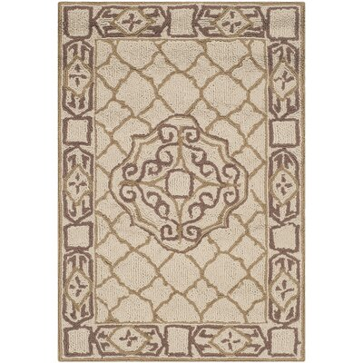 Apache Hand-Hooked Ivory & Gold Area Rug Rug Size: Rectangle 2 x 3