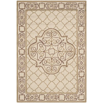 Apache Hand-Hooked Ivory & Gold Area Rug Rug Size: 4 x 6
