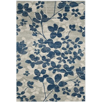 Aegean Gray/Light Blue Area Rug Rug Size: Rectangle 4 x 6