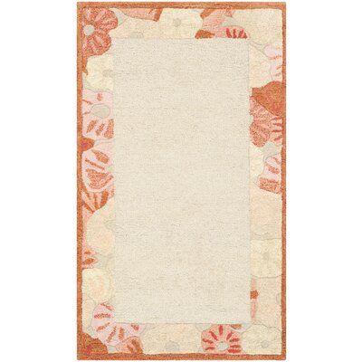 Poppy Border Hand-Tufted Cayenne Red Area Rug Rug Size: Rectangle 26 x 43