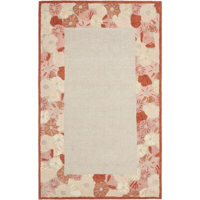 Poppy Border Hand-Tufted Cayenne Red Area Rug Rug Size: 4 x 6