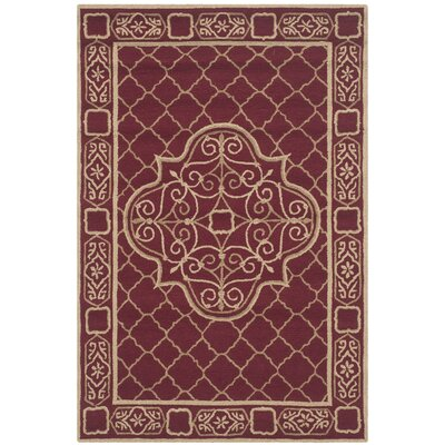 Bibbins Hand-Hooked Maroon / Gold Area Rug Rug Size: Rectangle 4 x 6