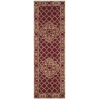 Bibbins Hand-Hooked Maroon / Gold Area Rug Rug Size: Runner 26 x 10