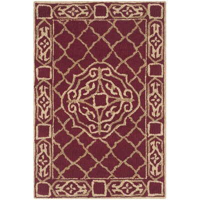 Bibbins Hand-Hooked Maroon / Gold Area Rug Rug Size: Rectangle 2 x 3