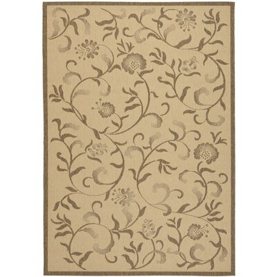 Swirling Garden Creme / Brown Area Rug Rug Size: Rectangle 67 x 96