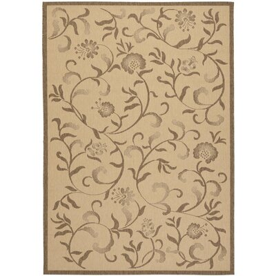 Swirling Garden Creme / Brown Area Rug Rug Size: 53 x 77