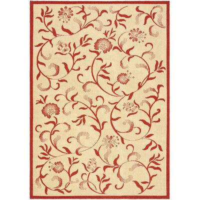 Swirling Garden Creme / Red Area Rug Rug Size: 53 x 77