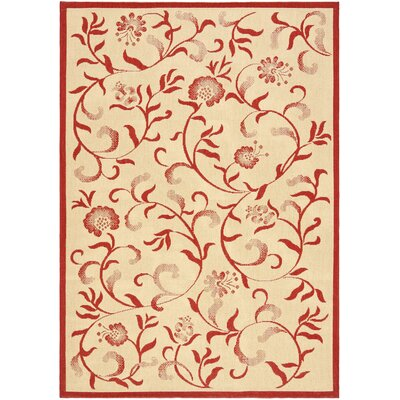 Swirling Garden Creme / Red Area Rug Rug Size: 67 x 96