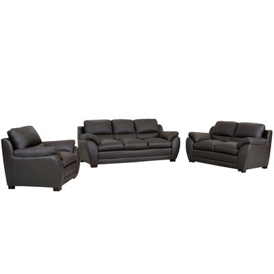 Marson Leather 3 Piece Living Room Set