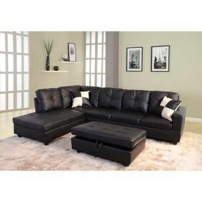 Russ Sectional with Ottoman Upholstery: Black, Orientation: Left Hand Facing