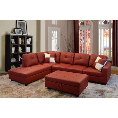 Russ Sectional with Ottoman Upholstery: Red, Orientation: Left Hand Facing