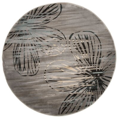 Armory Gray Area Rug Rug Size: Round 5