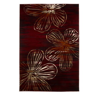Kessinger Burgundy Area Rug Rug Size: Rectangle 53 x 77
