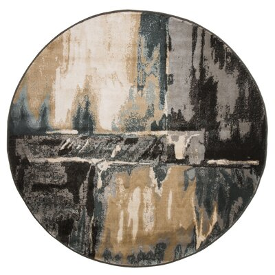 Kessinger Machine Woven Gray/ Black Area Rug Rug Size: Round 5