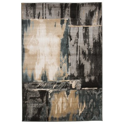 Kessinger Machine Woven Gray/ Black Area Rug Rug Size: 53 x 77