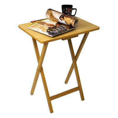 Ivana Folding TV Tray Table Set Finish: Beech