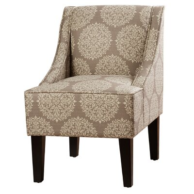 Adams Swoop Armchair Upholstery: Stone, Pattern: Damask