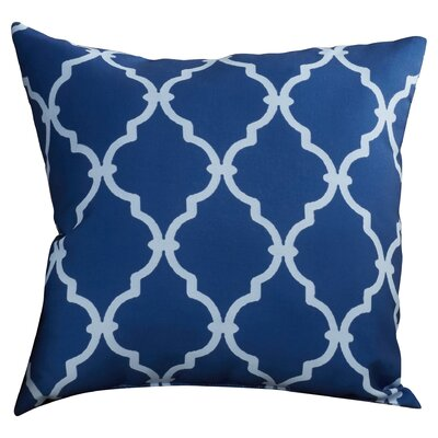 Reuter Trellis Polyester Throw Pillow Size: 18 H x 18 W, Color: Navy Blue