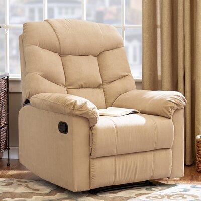 Gertrude Wall Hugger Upholstered Microfiber Recliner Upholstery: Khaki