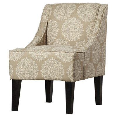 Adams Swoop Armchair Upholstery: Pearl, Pattern: Damask