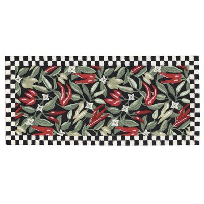 White Black Chili Peppers Area Rug