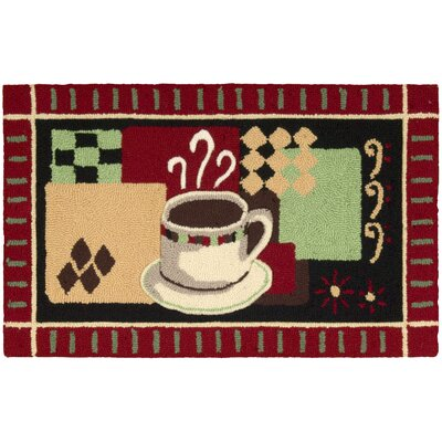 White Black Coffee Red Area Rug Rug Size: Rectangle 17 x 28