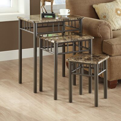 White Oak 3 Piece Nesting Tables Top / Base Color: Cappuccino Marble / Bronze