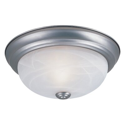 Peterof Flush Mount Finish / Size / Shade Finish: Pewter / 4.5 H x 11.25 W / White Alabaster