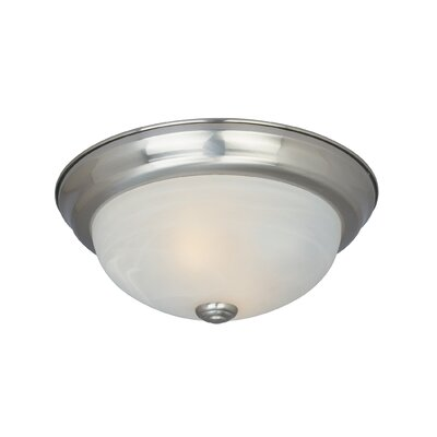 Peterof Flush Mount Finish / Size / Shade Color: Satin Platinum /4.5 H x 11.25 W /White Alabaster