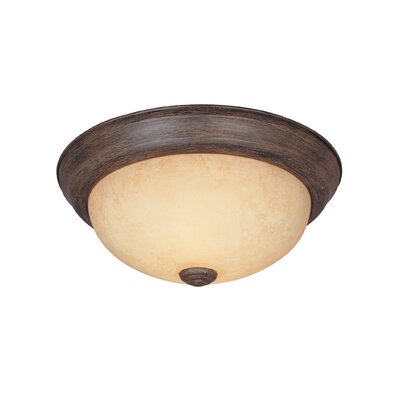 Peterof Flush Mount Finish / Size / Shade Finish: Warm Mahogany / 4.5 H x 11.25 W / Amber