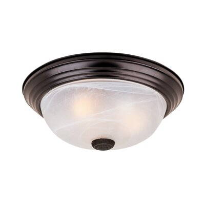 Peterof Flush Mount Finish / Size / Shade Color: Oil Rubbed Bronze/5.25H x 13.25W/White Alabaster