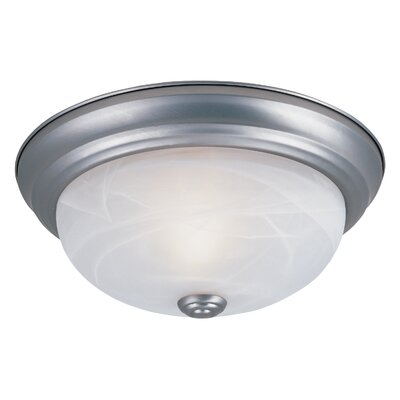 Peterof Flush Mount Finish / Size / Shade Finish: Pewter / 5.25 H x 13.25 W / White Alabaster