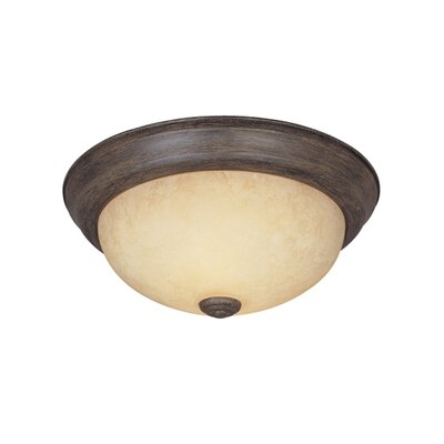 Peterof Flush Mount Finish / Size / Shade Finish: Warm Mahogany / 5.25 H x 13.25 W / Amber