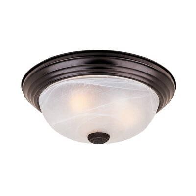 Peterof Flush Mount Finish / Size / Shade Finish: Oil Rubbed Bronze/5.5H x 15.25W/White Alabaster