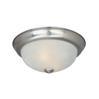Peterof Flush Mount Finish / Size / Shade Finish: Satin Platinum/5.25 H x 13.25 W/White Alabaster