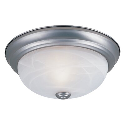 Peterof Flush Mount Finish / Size / Shade Color: Pewter / 5.5 H x 15.25 W / White Alabaster