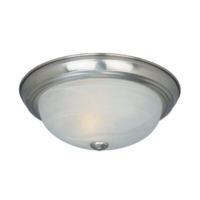 Peterof Flush Mount Finish / Size / Shade Finish: Satin Platinum /5.5 H x 15.25 W /White Alabaster