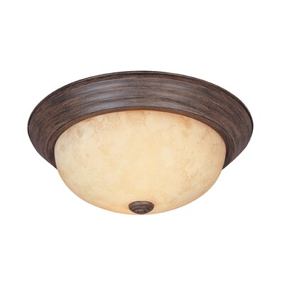 Peterof Flush Mount Finish / Size / Shade Finish: Warm Mahogany / 5.5 H x 15.25 W / Amber