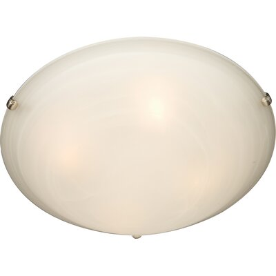 Barrett 2-Light Flush Mount Finish / Shade Color: Marble/Satin Nickel, Size: 6 H x 20 W